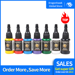 حبر تاتو دراغون هوك 7-عبوة مجموعة ألوان أساسية زجاجات 0.5 أونصة