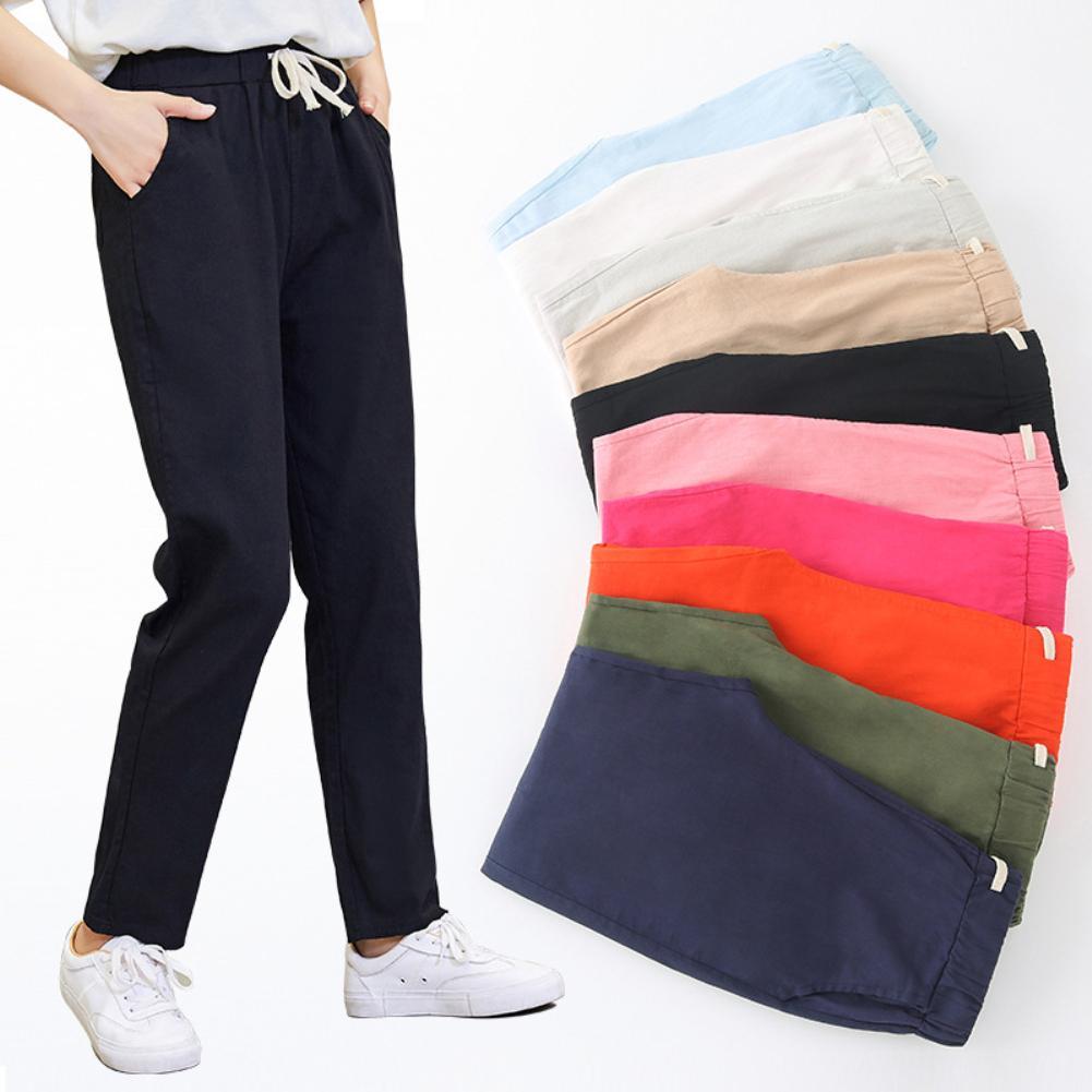 Pantalones De Vestir Para Mujer Pantalon Holgado De Lino Con Bolsillos Y Cordon Color Liso Para Oficina Pantalones Y Pantalones Capri Aliexpress