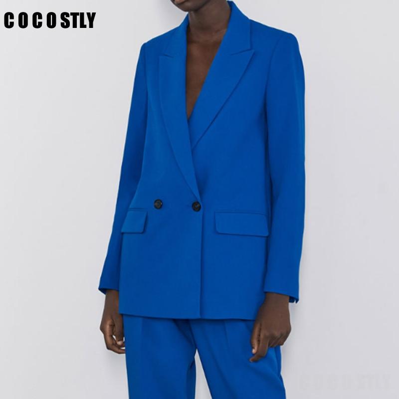 Women Elegant Solid Blue Black Blazer Notched Collar Long Sleeve Pockets Coat Female Office Wear Suit Jacket Formal Tops
