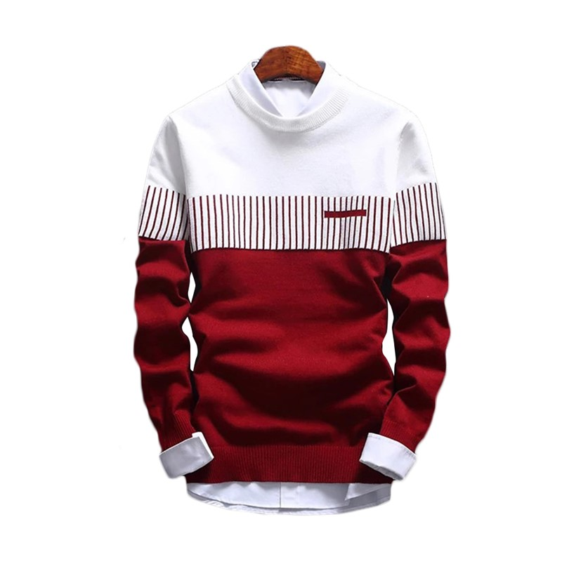 2020 New Men Stripe Round Neck Long Sleeve Slim Knitted Pullover Hoddies High Quality Warm Men Fashion Knitted Casual Pullover
