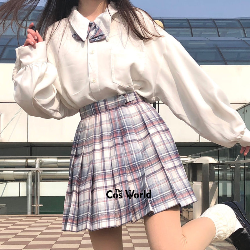[QiuYe] Girl's Summer High Waist Pleated Skirts Plaid Skirts Women Dress For JK School Uniform Students Cloths