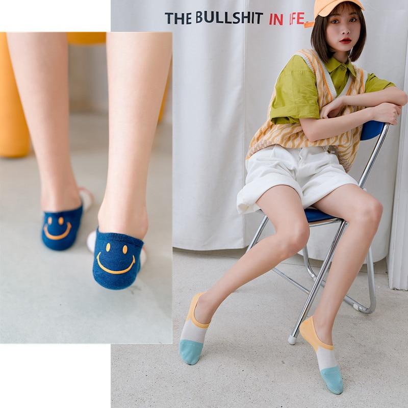 Women Lovely Cartoon Harajuku Socks Personal Heel Smiling Face Cotton Boat Socks For Female Patckwork Color Breathable Sox