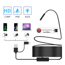 2.0MP Semi Rigid USB Endoscope Camera IP67 Waterproof Sewer Camera With 8 LED for Android, MacBook & Windows PC (3CM 5M)