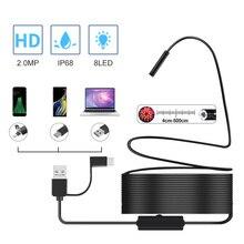 Полужесткая USB камера эндоскоп 2,0 МП, водонепроницаемая камера IP67 для канализации с 8 светодиодами для Android, MacBook и Windows, ПК (3 см 5 м)