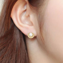 Simulated Pearl Shell Stud Earrings for Women Rhinestone Brincos Statement Earrings Bijoux Jewelry Party Gift Wholesale WD470 цена