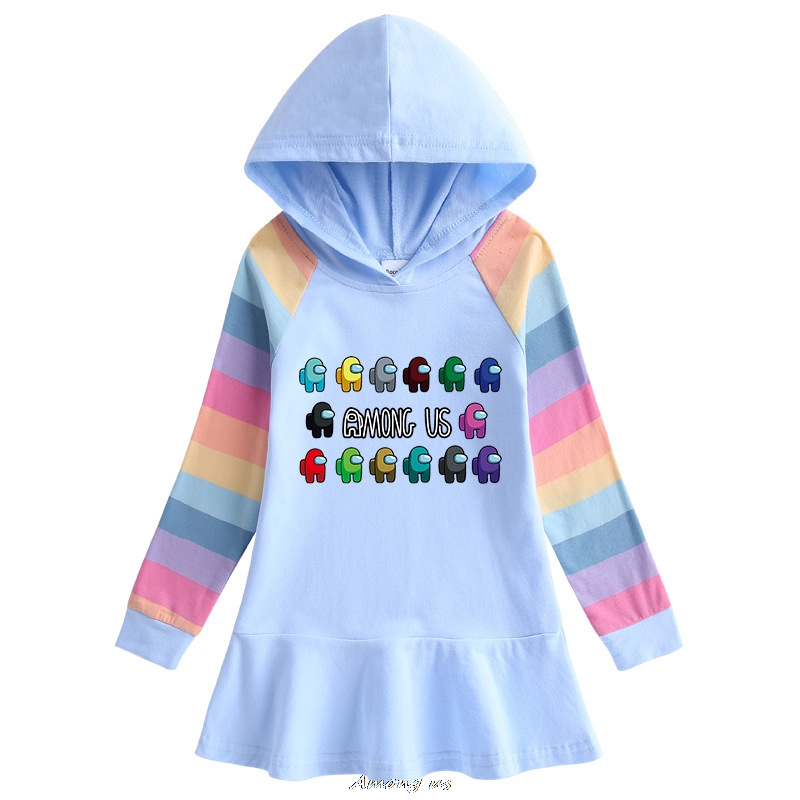Among us Hooded Dresses for Girl Clothes Cotton Princess Dress Kids Dresses Children Clothing Girls Autumn Dress 1
