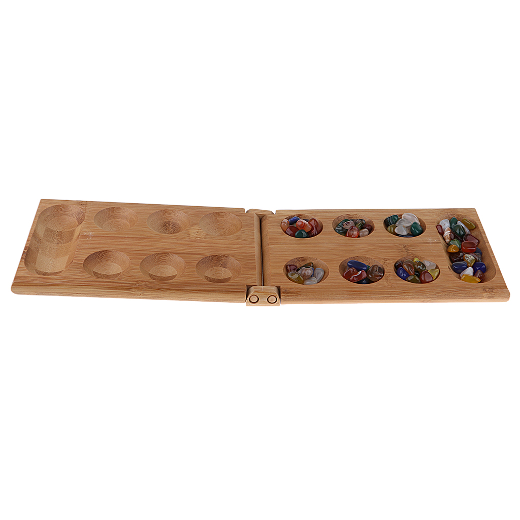 Strategy Game Mancala/Kalaha/Sungka - Bamboo Case Set With 48 Agate Beads