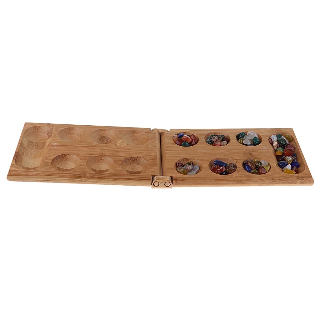 Strategy Game Mancala/Kalaha/Sungka - Bamboo Case Set With 48 Agate Beads