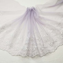 Mesh Ribbon Trim-Material Lace-Fabric Embroidery Applique Tulle Floral-Lace Purple Wedding-18cm
