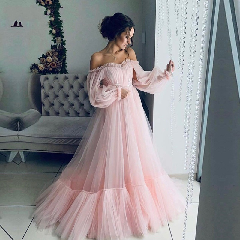 Prom-Gowns Party-Dress Long-Sleeves Beautiful Custom-Made Girls Elegant Pink Cheap-Price