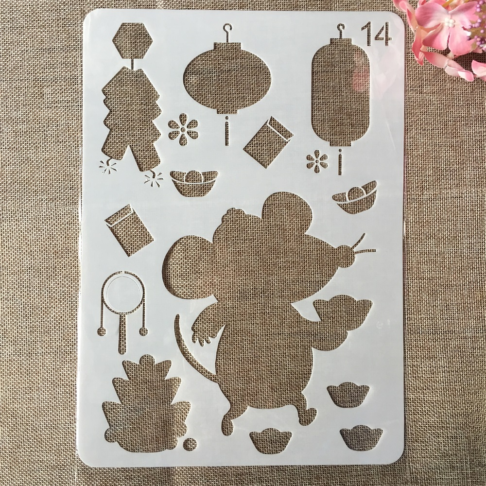 29cm A4 Cute Mouse Gold Ingot DIY Craft Layering Stencils Painting Scrapbooking Stamping Embossing Album Paper Card Template