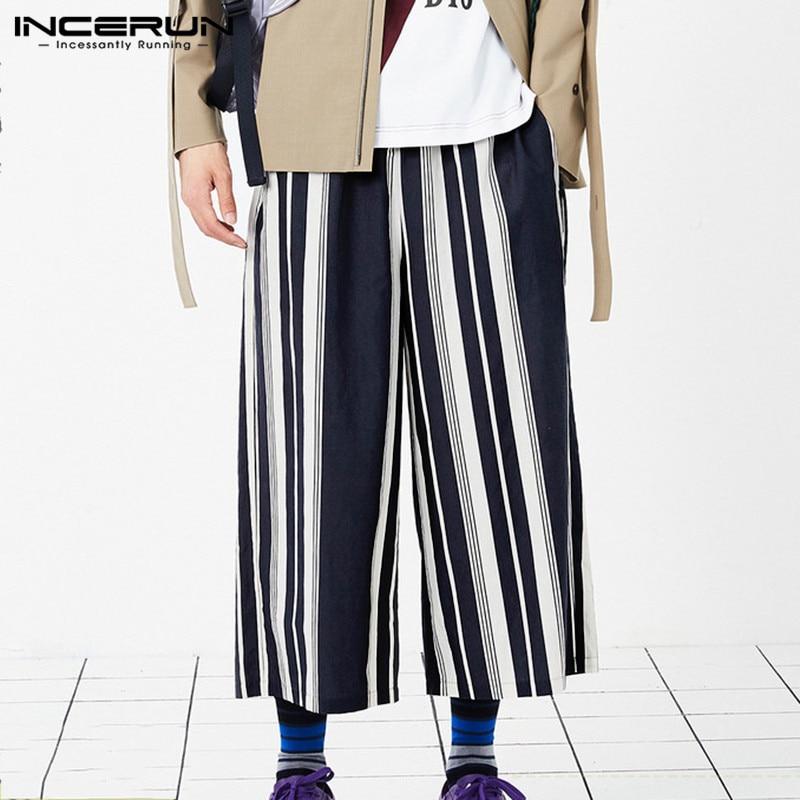 Vintage Men Wide Leg Pants Elastic Waist Hip-hop High Street Casual Joggers Loose Stylish Trousers 2019 INCERUN S-5XL