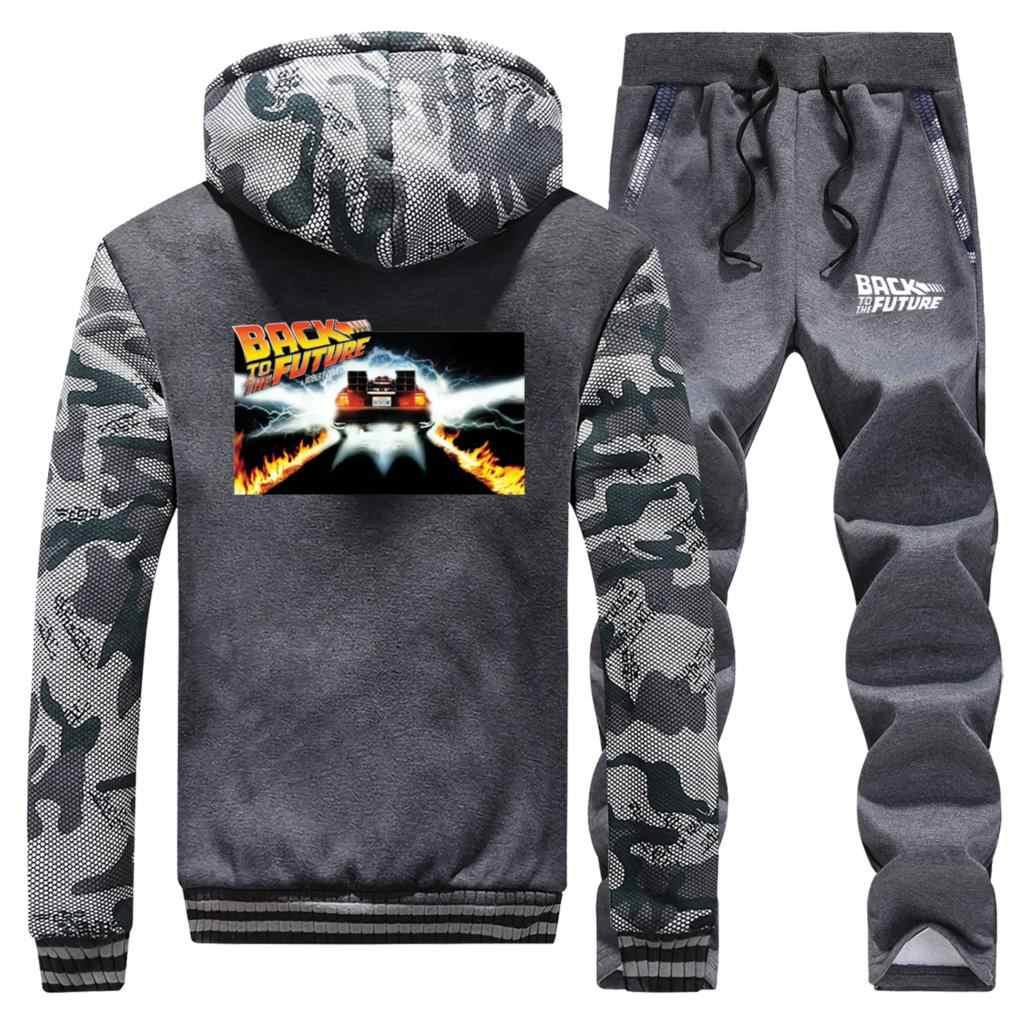 Nieuwe Winter 2019 Jas Dikke Terug Naar De Toekomst Auto Mens Hoodies Grappig Camouflage Sportkleding Pak Warme Jas + 2 delige Set Broek