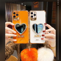 Funda de teléfono con espejo de corazón de amor chapado de lujo para Iphone, funda de silicona suave con purpurina, para Iphone 13, 12, 11 Pro, Max, 7 Plus, X, XR