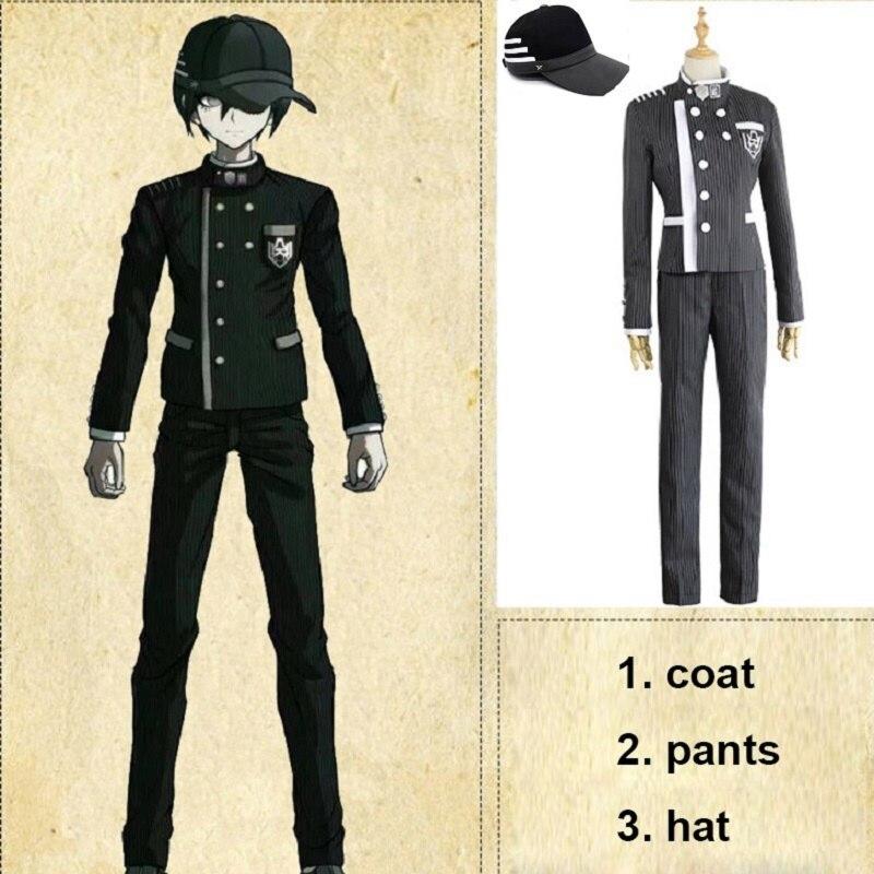 Anime Game Custom Made New Danganronpa V3 Cosplay Saihara Shuichi Cosplay Costume School Uniform Suit Outfit Coat Pants  Hat