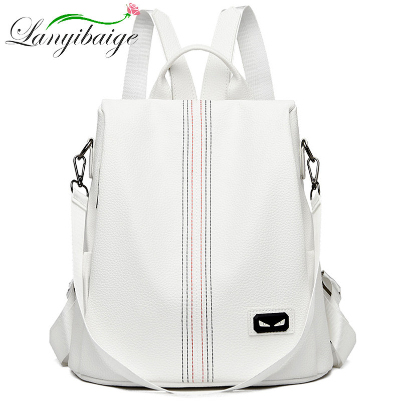White Women PU Leather Backpack School Bags For Teens Girls Travel Anti-theft Backpack Sac A Dos High Quality Ladies Bagpack