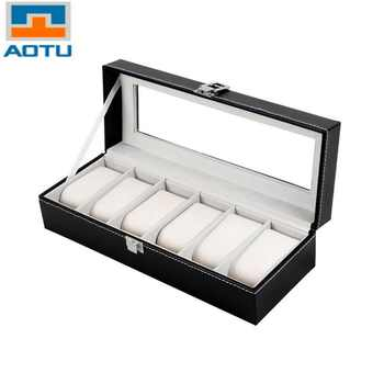 AOTU 6 Grid Luxury Refinement Slots Wrist Watches Gift Case Jewelry Display Boxes Storage Holder for Home Jewelry Storage