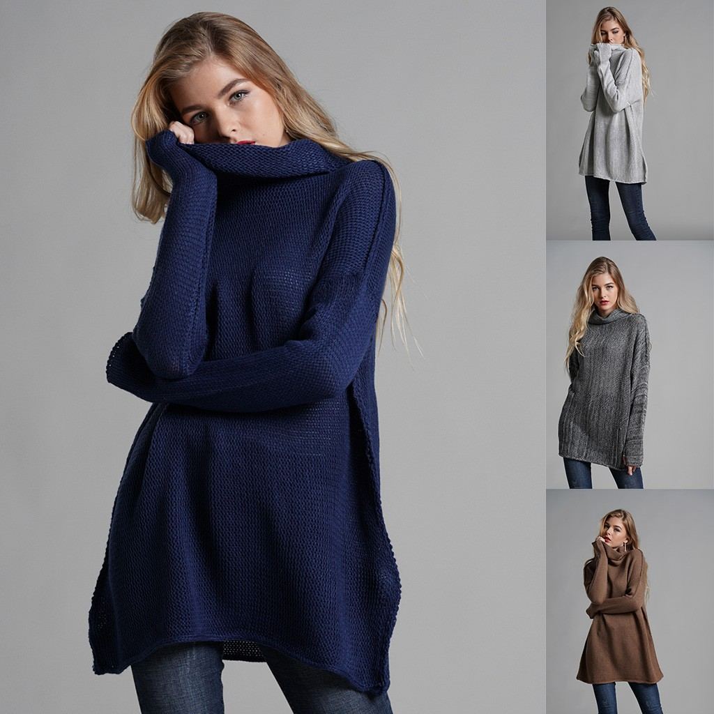 Women Warm Solid Black Gray Blue  Trutleneck Solid Color Simple Comfortable Long Sleeve Winter Pullover Sweater Plus Size B