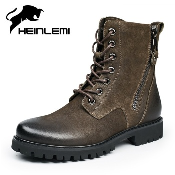 HEINLEMI Black Punk Style Platform Men's Ankle Boots Lace Up Zipper Winter Plush Motorcycle Boots For Man Goth Chunky Shoes