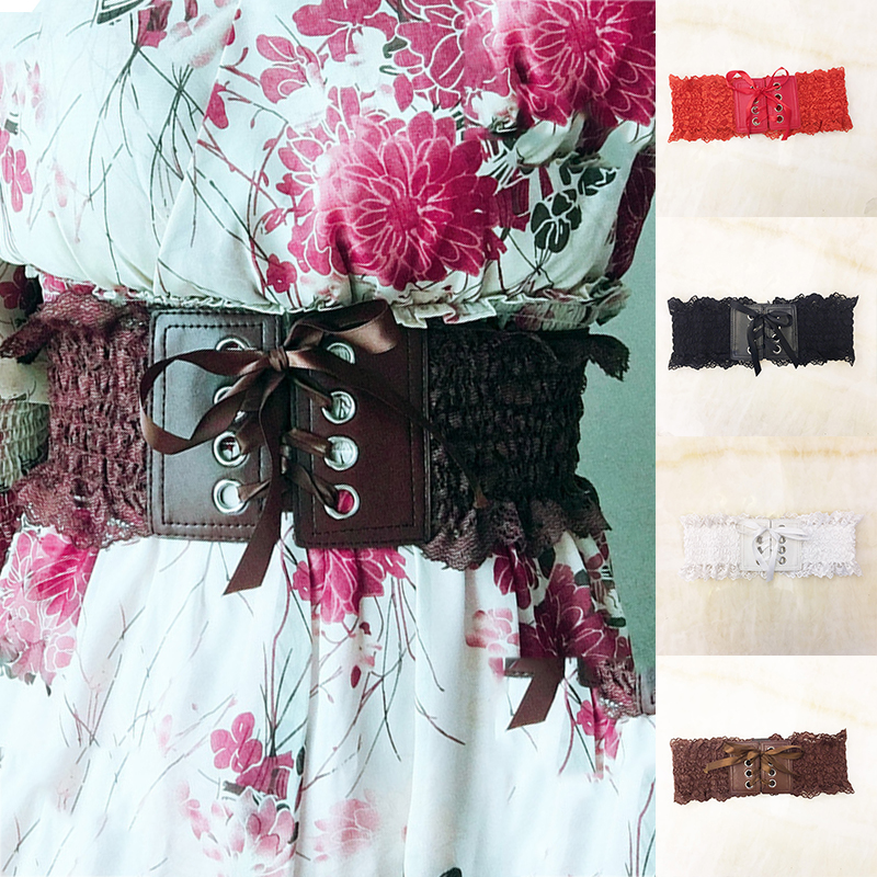 Elastic Waistband Lace Elastic Stretch Decorative Belt Dress Wide Waist Seal Lace PU Leather Rope New Belts Red Black Waistband