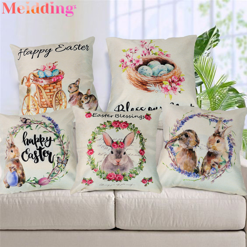Easter Decoration Cushion Cover Easter Eggs Rabbit Basket Printed Pillows Cover Sofa Seat Throw Pillow Case Easter Home Decor