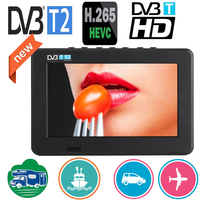 LEADSTAR 7 inch Portable Mini Tv Full Compatible With DVB T2 H265/Hevc DVB T/H264 Dolby Ac3 800x480 Support TF Card USB