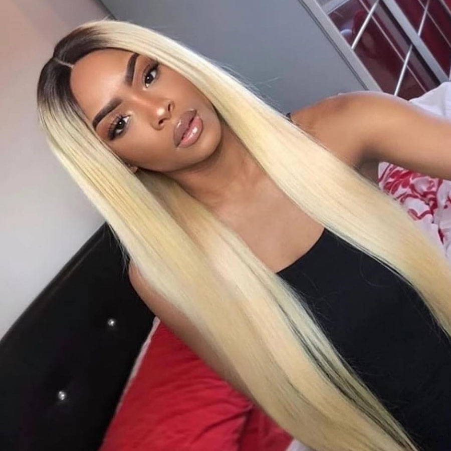 Long 180% Density Remy Brazillian Body Wave Full Lace Wig 1B 613 Ombre Blonde Colored Preplucked Human Hair Transparent Lace Wig