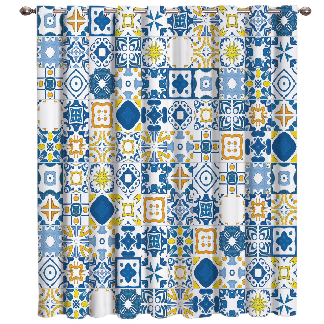 Blue Carved Pattern Mosaic Window Treatments Curtains Valance Bedroom Outdoor Fabric Indoor Kids Outdoor Curtains