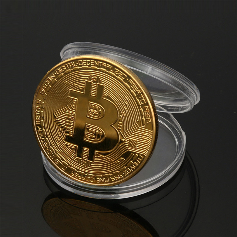 Gold Plated Physical Bitcoins Bit Coin BTC With Case Gift Physical Metal Antique Imitation BTC Coin Art Collection-0