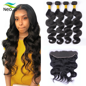 10 A cambodian body wave hair bundles with frontal 13x4 forntal for hair extension with cheap price(China)