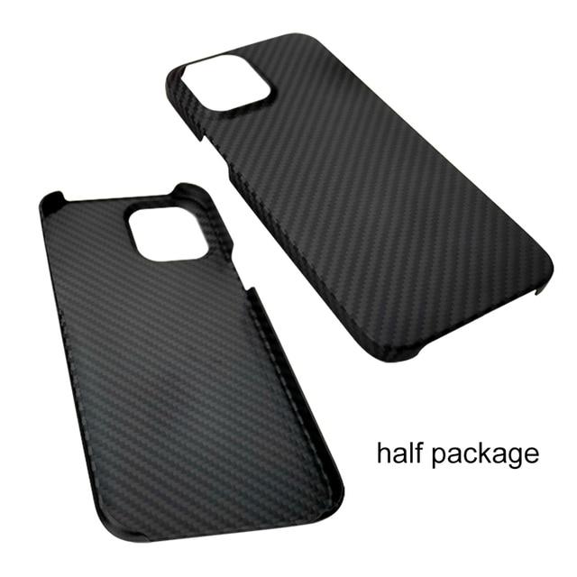 Real Pure Carbon Fiber Phone Case for Iphone 12mini 12 Promax Anti-Fall Hard Business Cover Aramid fiber case iphone12Case Shell 3