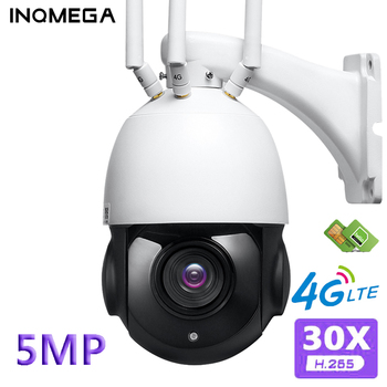 INQMEGA 5MP FHD 30X Optical Zoom IP Camera WiFi 4G SIM Card Outdoor Spherical 360 Degree Surveillance Cam Onvif H.265 Wireless image