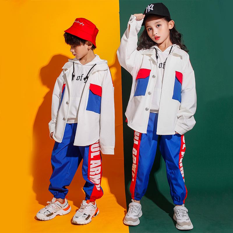 Kids Fashion Hip Hop Clothing Lapel Top Coat Color Block Jacket Running Casual Pants For Girls Boys Jazz Dance Costumes Clothes