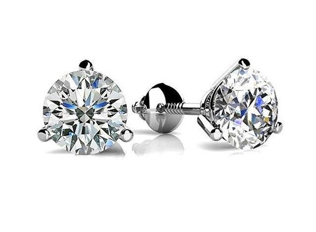 Luxury  6/7or 8mm Round Lab Diamond sterling Earrings 3