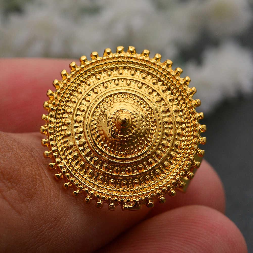 اندو الاثيوبية خاتم الذهب اللون جولة عملة خواتم للنساء Eritrean الأفريقي الأزياء خاتم الزواج الشرق الأوسط العربية مجوهرات