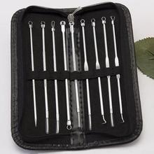 9pcs Acne Extractor Removing Tool Stainless Steel Blackhead Pimple Remover Comedone Extract Ance Needle Face Care