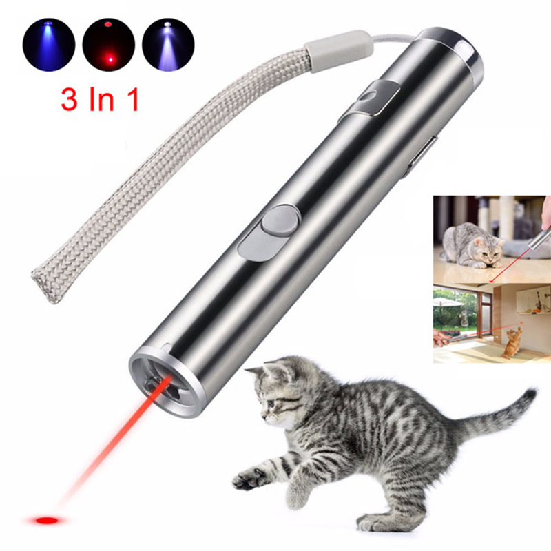 3 in1 red lazer pointer USB rechargeable flashlight rechargeable UV flashlightAluminium Alloy Laser multi-function Lazer pen