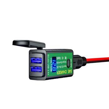Universal impermeable 5V 2.1A motocicleta Dual USB cargador SAE a USB adaptador con interruptor de encendido/apagado para iPhone Tablet teléfono móvil GPS