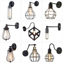 Lámpara de pared Industrial Vintage, luz de pared del desván americano, pantalla Simple, E27, candelabro de la jaula, para el corredor de la tienda de restaurante