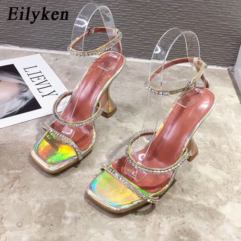 Eilyken New Design Square Toe Sandals Fashion Crystal Diamond PU Leather Ankle Buckle Strap Strange Heels Shoes Woman Summer