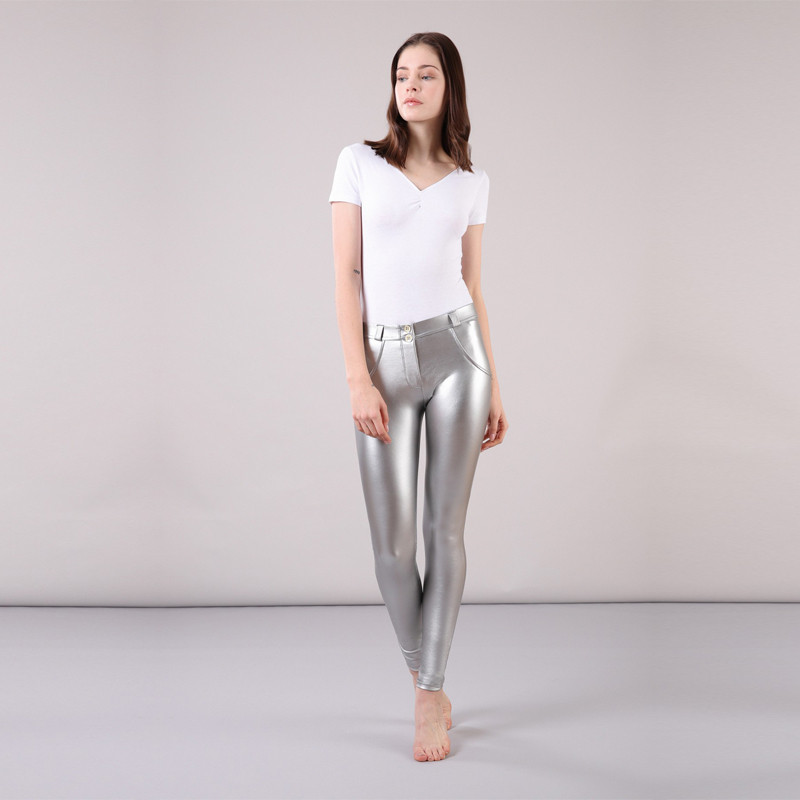 Four Ways Stretchable Melody Pants Warm Leggings For Winter Faux Leather Pants Women Glitter Leggings Silver Leggings