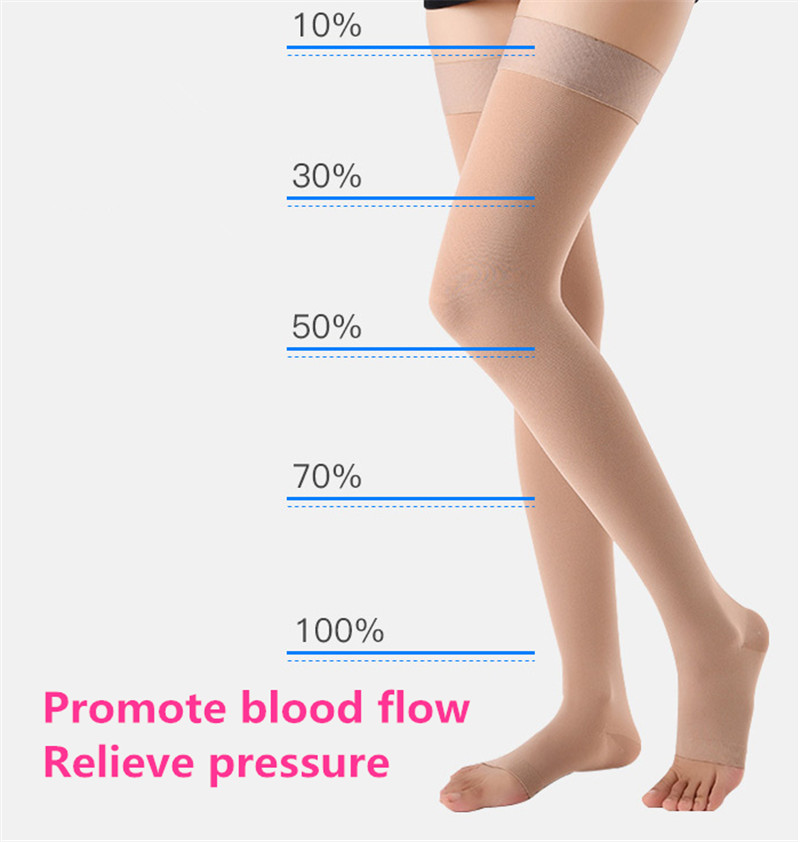 Medical Varicose Vein Socks Class 2 Pressure Stockings Anti Skip Compression Thigh Socks Pain Relief Close/open Toe Foot