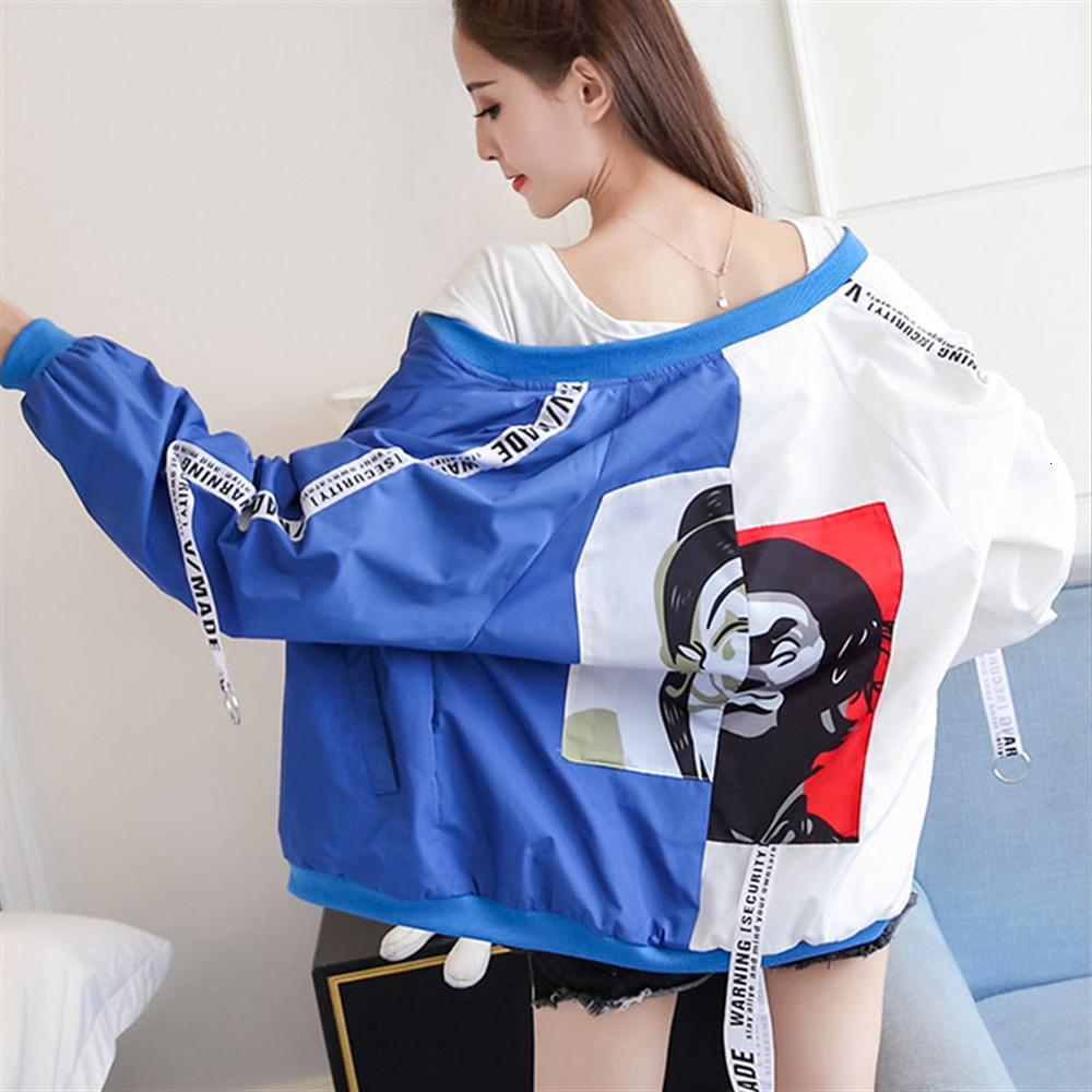 Women's Jackets 2019 Fashion Thin Outerwear Long Sleeve Patchwork Zipper Jacket Windbreaker Coats Bomber Female Baseball 3XL