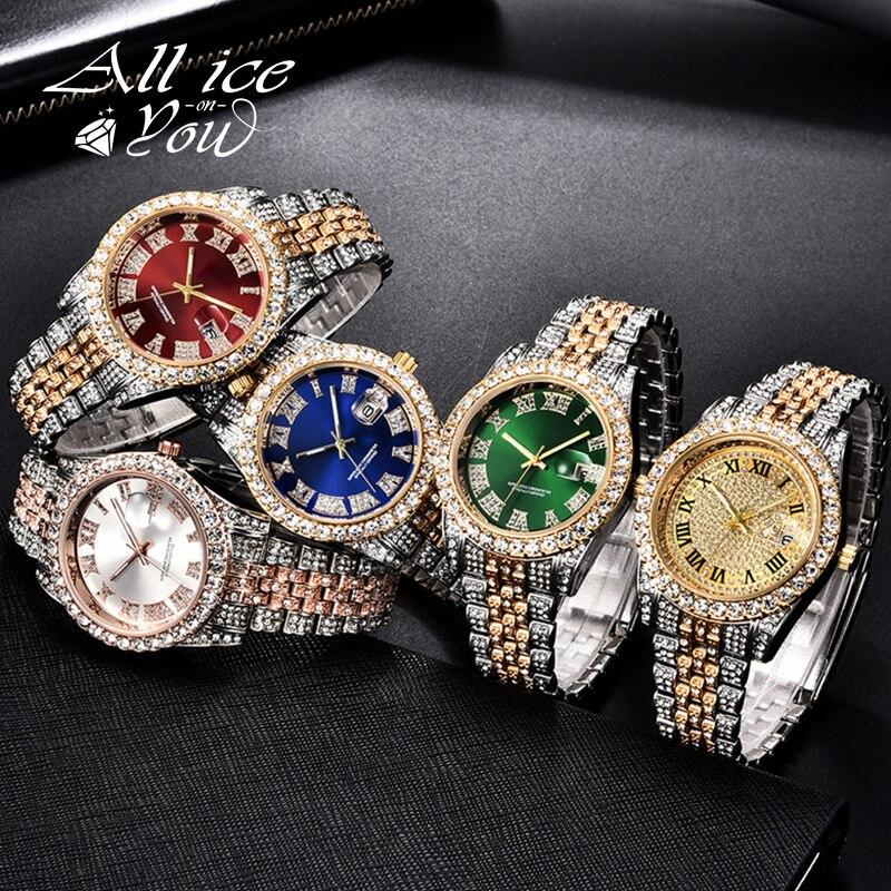Часы ALLICEONYOU с фианитами, модные украшения в стиле хип-хоп, браслет из нержавеющей стали с бриллиантами, золотистого и серебристого цвета, под...