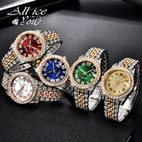ALLICEONYOU Neue Gold Silber Farbe Zirkonia Uhren Hip Hop Mode Hohe Qualität Diamant Armband Edelstahl Für Geschenk