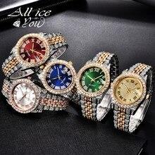 ALLICEONYOU-relojes de circonia cúbica, pulsera de diamantes de alta calidad, de acero inoxidable, Color oro nuevo y plateado, a la moda, Hip Hop, para regalo