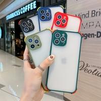 Funda de teléfono transparente mate a prueba de golpes, cubierta de lujo para iPhone X XS XR 6 6S 7 8 11 12 Mini SE Plus Pro Max 2020, colores caramelo