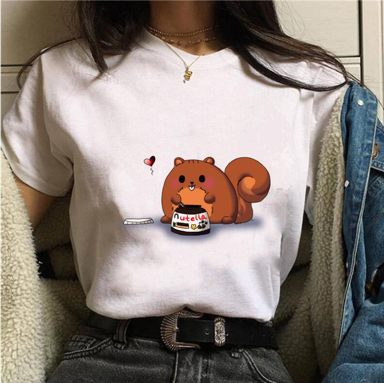 Nutella Kawaii Print T Shirt  Women Clothes Harajuku Tops Aesthetic Korean Clothes Casual Tshirt Female Tops Roupas Feminina