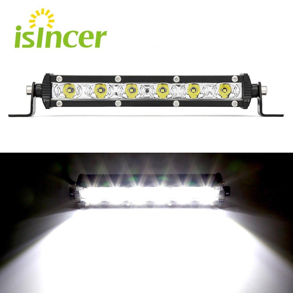 Isincer 24 w barra led offroad carro lâmpada spotlight led trabalho luz chips à prova dwaterproof água lâmpada de condução para fora da estrada suv 4wd barco caminhão