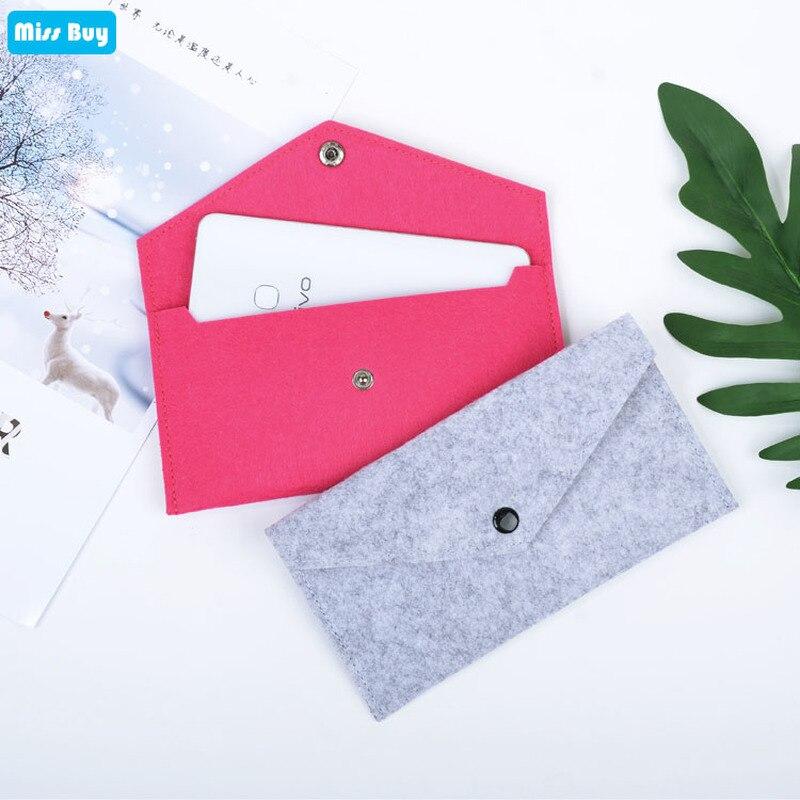 Mini Mobile Phone Pouch Bag For iPhone 4 4S 5 5S SE 6 6S 7 8 Plus X XR XS Max 11 Pro Max Case Felt Cloth Colorful Parcel Package